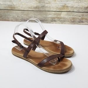 UGG Brown Leather Strappy Espadrille Sandals